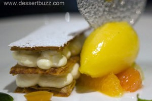 Lemon Napolean, Mandarin Sorbet, Candied Kumquat and Basil Syrup
